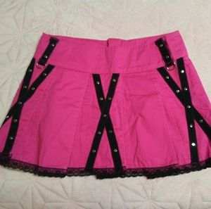 TRIPP Gothic Pink & Black Lace Pleated Skirt
